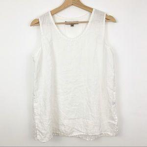 FLAX | White Linen Sleeveless Tank Top